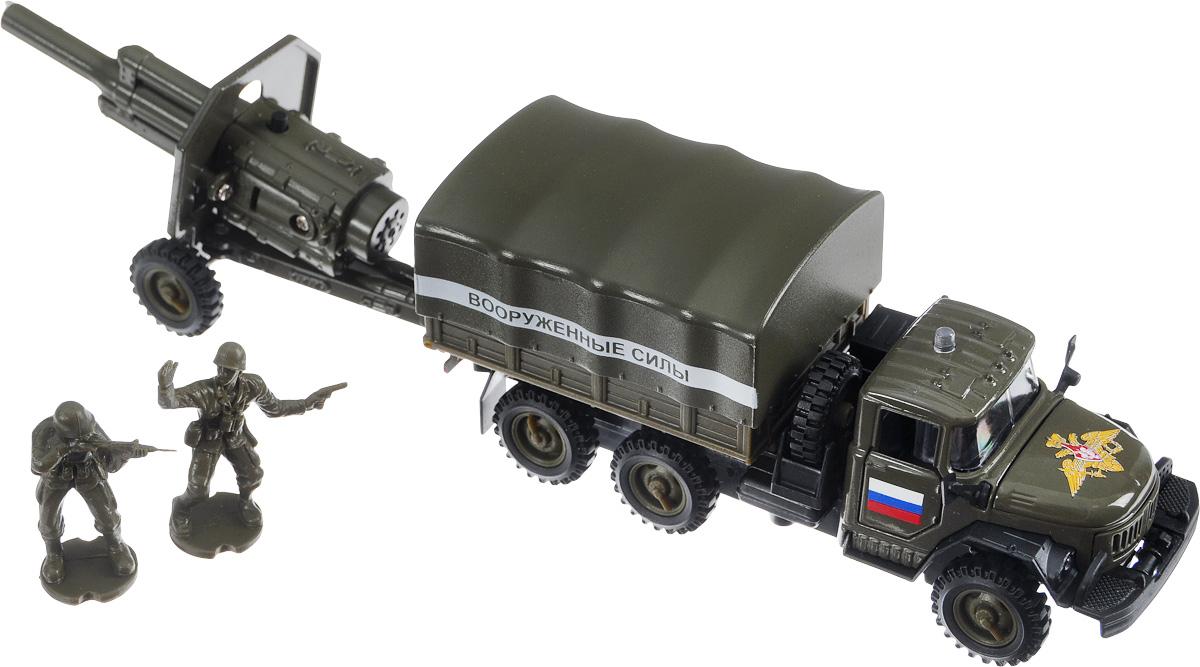 ТехноПарк Машинка инерционная ЗИЛ-131 Вооруженные силы с пушкойCT10-001+ CT-1112Инерционная машинка ТехноПарк ЗИЛ-131Вооруженные силы, выполненная из пластика и металла, станет любимой игрушкой вашего малыша. Игрушка представляет собой модель военного автомобиля марки ЗИЛ. У машинки открываются дверцы кабины и капот, снимается верхняя часть кузова. В комплекте с машинкой пушка и две фигурки солдат. Машинка и пушка имеют световые и звуковые эффекты. Машинка оснащена инерционным ходом. Игрушку необходимо отвести назад, затем отпустить - и она быстро поедет вперед. Прорезиненные колеса обеспечивают надежное сцепление с любой гладкой поверхностью. Ваш ребенок будет часами играть с этим набором, придумывая различные истории. Порадуйте его таким замечательным подарком! Для работы машинки необходимы 3 батарейки типа LR41 напряжением 1,5V (товар комплектуется демонстрационными). Для работы пушки необходимы 3 батарейки типа LR41 напряжением 1,5V (товар комплектуется демонстрационными).
