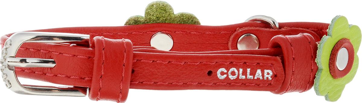 Ошейник для собак CoLLaR Glamour Аппликация, цвет: красный, зеленый, ширина 9 мм, обхват шеи 19-25 см34993Ошейник CoLLaR Glamour Аппликация изготовлен из кожи, устойчивой к влажности и перепадам температур. Клеевой слой, сверхпрочные нити, крепкие металлические элементы делают ошейник надежным и долговечным. Изделие отличается высоким качеством, удобством и универсальностью. Размер ошейника регулируется при помощи металлической пряжки. Имеется металлическое кольцо для крепления поводка. Ваша собака тоже хочет выглядеть стильно! Модный ошейник с аппликацией в виде цветов станет для питомца отличным украшением и выделит его среди остальных животных. Минимальный обхват шеи: 19 см. Максимальный обхват шеи: 25 см. Ширина: 9 мм.