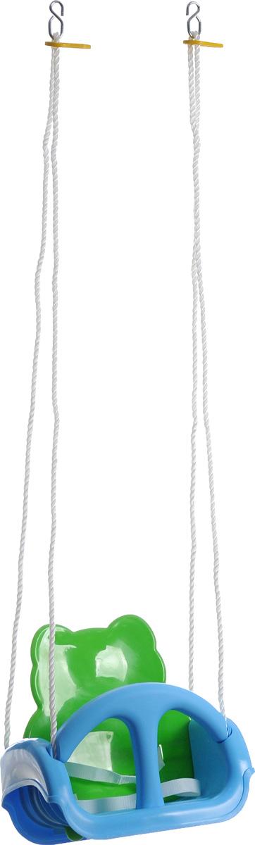 Marian Plast Качели детские Tiger Swing672Детские качели Marian Plast Tiger Swing - удобные и очень простые в применении для детей от 1 года. Качели с забавной мордашкой тигренка на спинке растут вместе с вашим малышом. Их можно использовать для веселого времяпрепровождения в помещении и на улице. Качели на надежных синтетических канатах подвешиваются с помощью металлических колец. Длина канатов регулируется; при этом предусмотрено 2 положения спинки - поближе и подальше (в зависимости от возраста малыша). Варианты использования: с 9 месяцев до 1,5 лет (для совсем маленького крохи установлены спинка и поручень, его дополнительно удерживает ремень безопасности); с 1,5 - до 3 лет (далее поручень снимается и малыш может сам садиться и вставать с сидения); ребенок подрос - теперь можно снять и спинку. Все дети с самого раннего детства обожают качаться на качелях! Именно поэтому, ваш малыш останется очень доволен таким ценным приобретением! Тем более, что это очень полезно - качание развивает...
