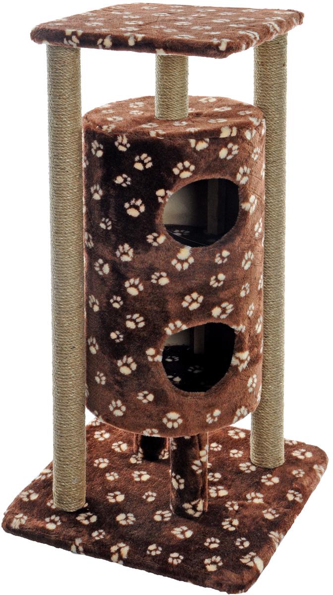 """Домик-когтеточка Меридиан """"Ракета"""", 5-ярусный, цвет: темно-коричневый, бежевый, 51 х 51 х 104 см Д527Ла_темно-коричневый, бежевый лапки"""