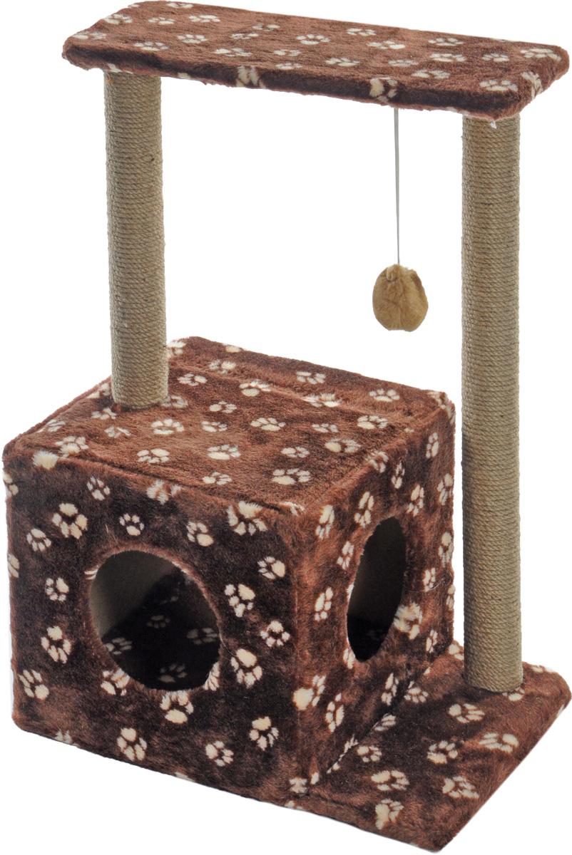 """Домик-когтеточка Меридиан """"Квадратный"""", 2-ярусный, с игрушкой, цвет: темно-коричневый, бежевый, 50 х 36 х 75 см Д127Ла_темно-коричневый,"""