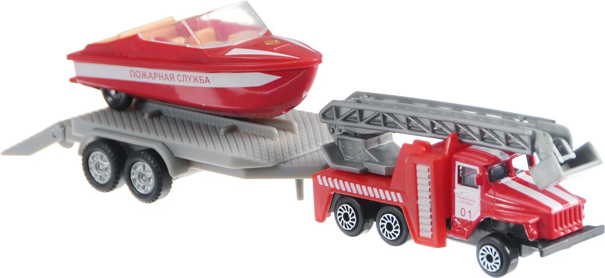 ТехноПарк Набор машинок Урал Пожарная служба с лодкой на прицепеSB-16-32-F-WBНабор машинок ТехноПарк Урал Пожарная служба с лодкой на прицепе станет отличным подарком для мальчика. Кабина машины и корпус лодки выполнены из металла; прицеп, лестница и внутренняя отделка лодки - из пластика. В днище лодки имеются колесики, поэтому ее можно катать, как обычную машинку. Прицеп отсоединяется, пандус опускается. Сделайте вашему ребенку такой великолепный подарок!