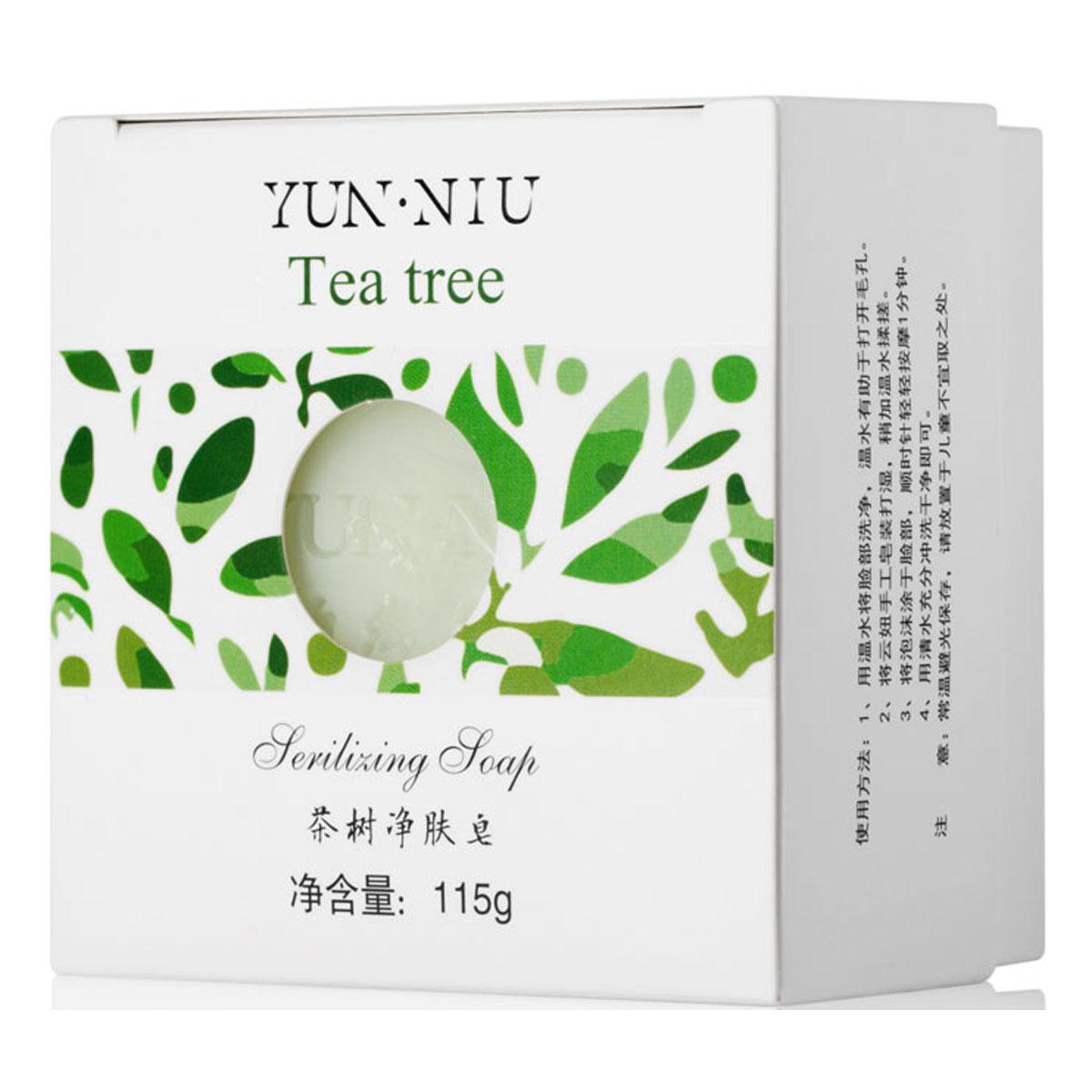 Yun-Niu Натуральное мыло с маслом чайного дерева, 115 гр220643Ежедневный уход за проблемной и воспаленной кожей. Благодаря бактерицидным и антисептическим свойства чайного дерева это мыло убивает болезнетворные бактерии и микробы без вреда для кожи. Мыло с экстрактом чайного дерева YUN-NIU (юн-ню, юнню) предназначено для ежедневного ухода за проблемной и воспаленной кожей. В состав мыла входит экстракт и масло чайного дерева, которое обладает следующими свойствами: бактерицидными, противогрибковыми, антисептическими, противовоспалительными, аромотерапическими.