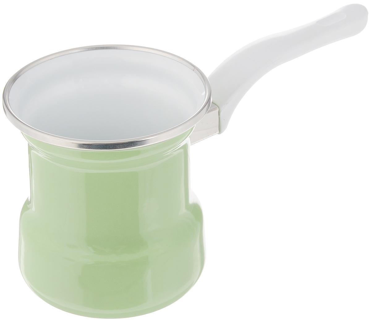 Турка эмалированная Elros Green Apple, цвет: зеленый, 400 млС-4103АП/3ДСзл/3СзлТурка Elros Green Apple прекрасно подходит для приготовления настоящего кофе на плите. Изготовлена из стали с эмалированным покрытием. Изделие оснащено эргономичной ручкой. Такая турка органично впишется в интерьер вашей кухни и станет замечательным подарком к любому случаю. Подходит для всех видов плит. Можно мыть в посудомоечной машине. Диаметр (по верхнему краю): 9 см. Высота стенки: 10 см. Длина ручки: 12,5 см.