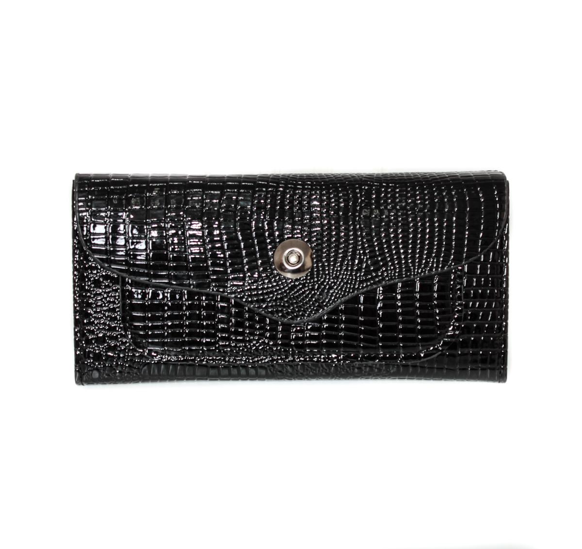 Кошелек женский Leighton, цвет: черный. 0005110800051108Закрывается на кнопку. Внутри два отделения, один карман на молнии. Имеются отделения для визиток.