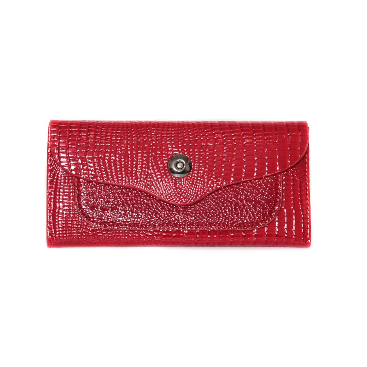 Кошелек женский Leighton, цвет: красный. 0005309200053092Закрывается на кнопку. Внутри два отделения, один карман на молнии. Имеются отделения для визиток.