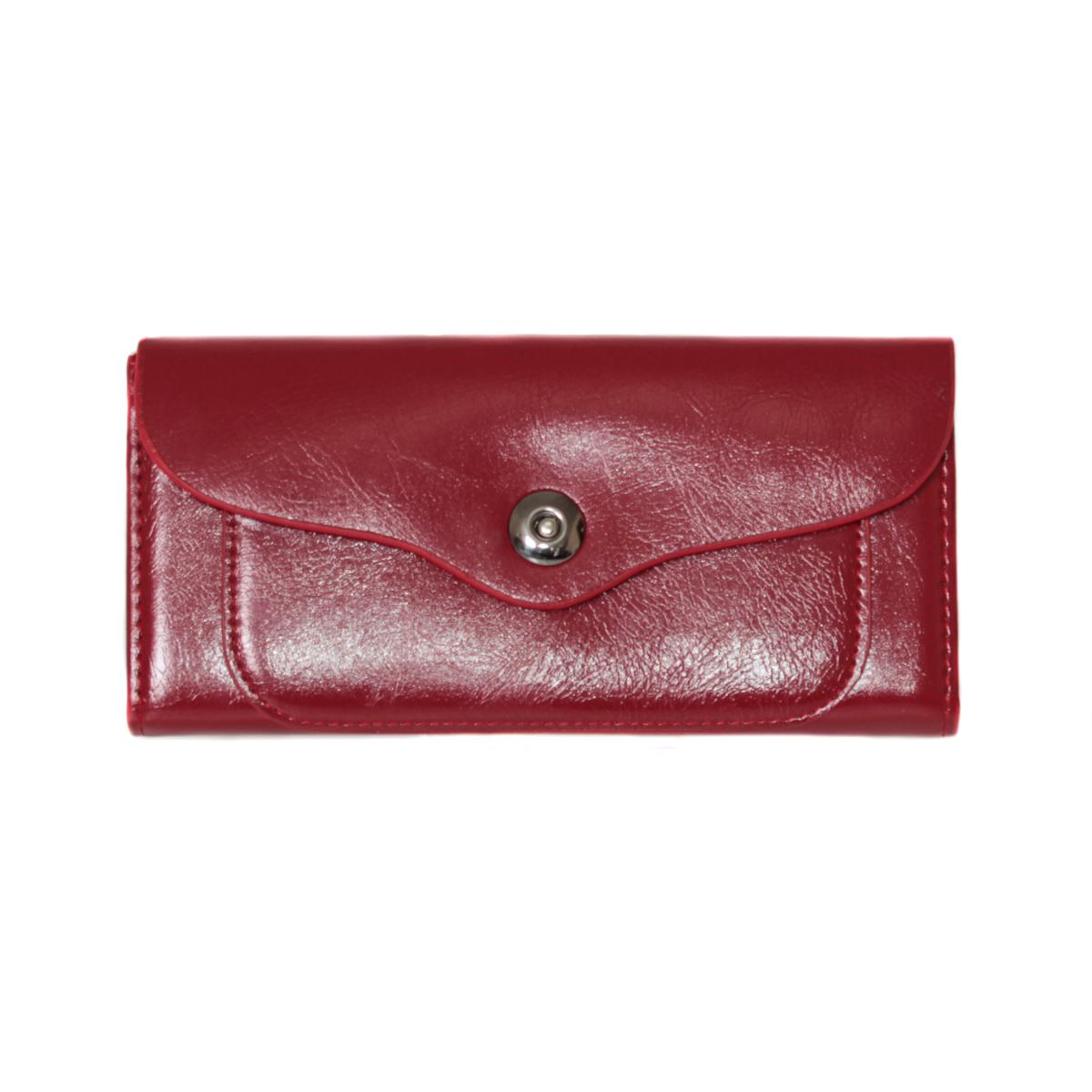 Кошелек женский Leighton, цвет: бордовый. 0005310600053106Закрывается на кнопку. Внутри два отления для карточек и визиток, одно отделение на молнии, два для купюр и одно для монет.