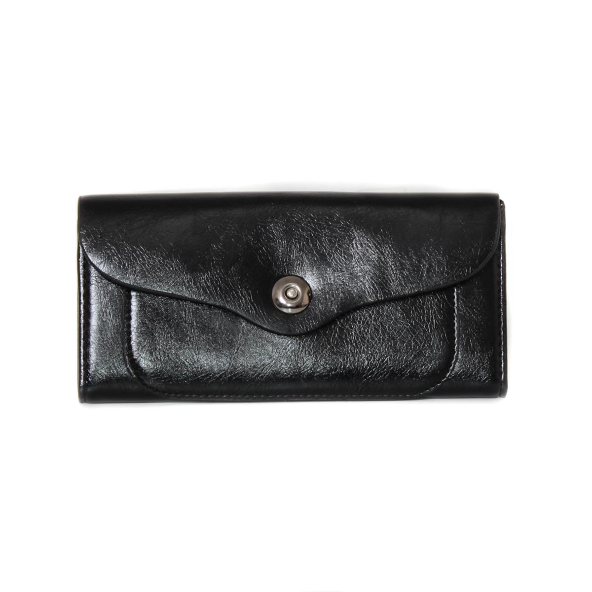 Кошелек женский Leighton, цвет: черный. 0005310700053107Закрывается на кнопку. Внутри два отления для карточек и визиток, одно отделение на молнии, два для купюр и одно для монет.