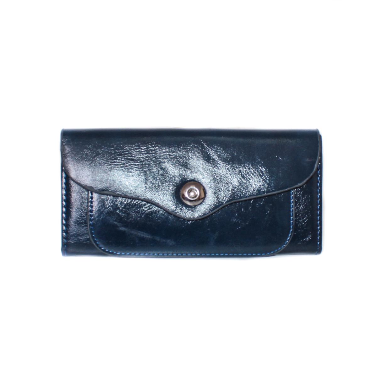Кошелек женский Leighton, цвет: синий. 0005310900053109Закрывается на кнопку. Внутри два отления для карточек и визиток, одно отделение на молнии, два для купюр и одно для монет.