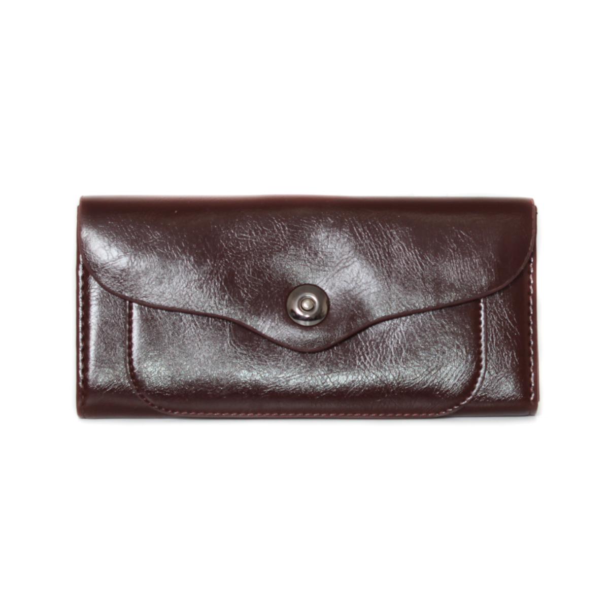 Кошелек женский Leighton, цвет: коричневый. 0005311000053110Закрывается на кнопку. Внутри два отления для карточек и визиток, одно отделение на молнии, два для купюр и одно для монет.
