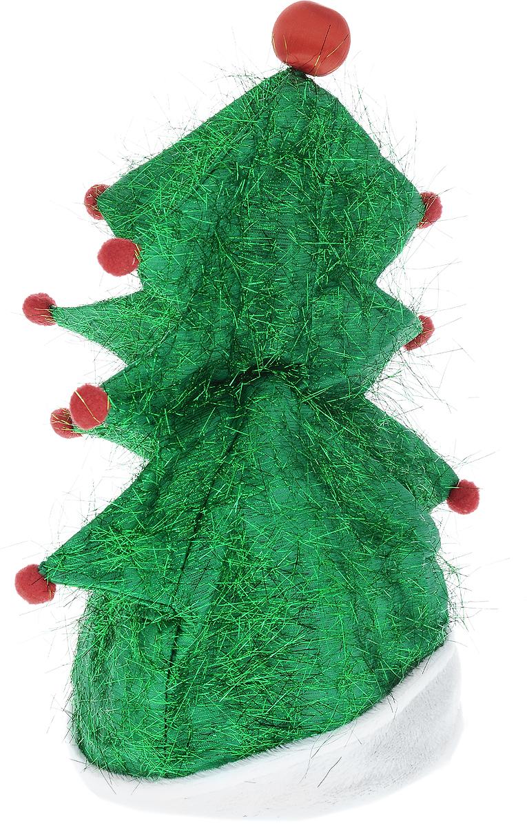 Шапка карнавальная Win Max Елочка, музыкальная, высота 40 см97009Шапка карнавальная Win Max Елочка внесет нотку задора и веселья в праздник и станет завершающим штрихом в создании праздничного образа. Изделие имеет прочный пластиковый каркас. Обхват головы и высота регулируются с помощью специальных ремешков. Верх шапки выполнен из текстиля в виде елочки, оформлен дождиком и красными помпонами. Шапка музыкальная: при включении специальной кнопки сбоку начинает играть веселая зажигательная новогодняя песня на английском языке, а помпон сверху мигает. Если у вас намечается веселая вечеринка, то такая шапка просто незаменима. Веселое настроение и масса положительных эмоций вам будут обеспечены. Шапка работает от 3 батареек типа АА (в комплект не входят). Высота шапки: 40 см.