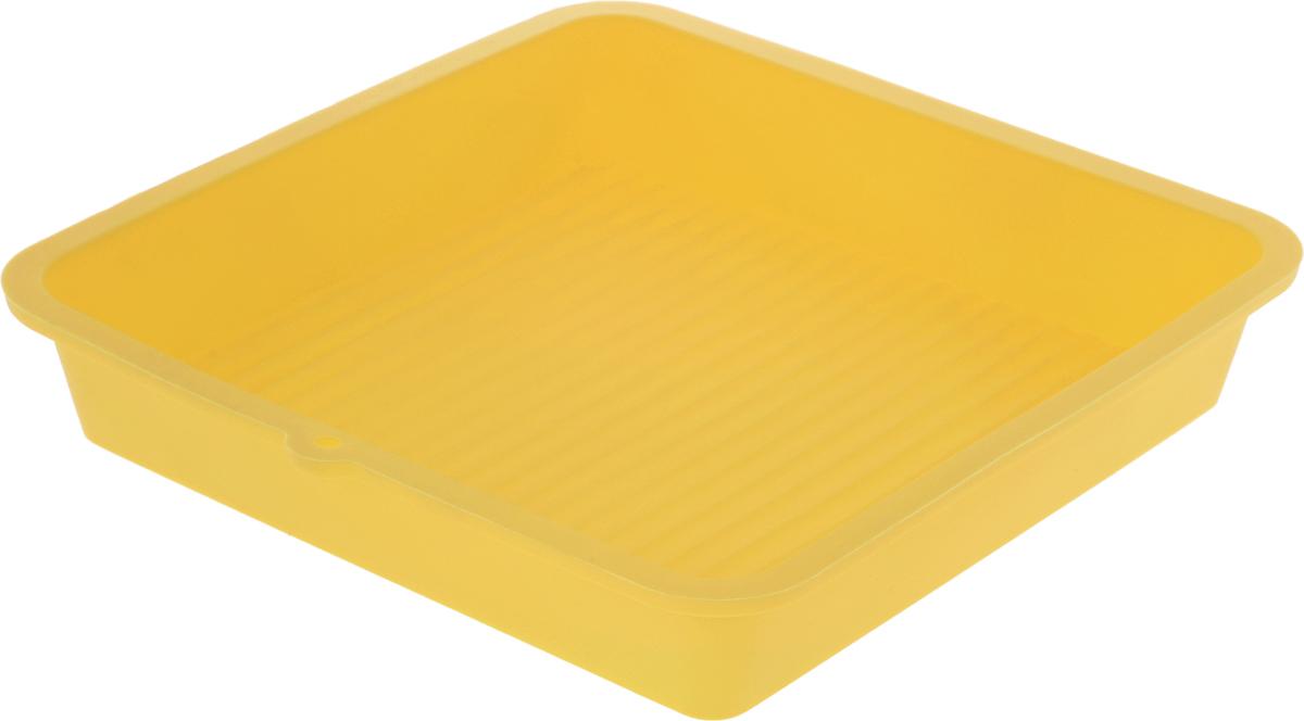 Форма для выпечки LaSella, силиконовая, цвет: желтый, 23 х 23 х 4,5 смKL40B005_желтыйФорма для выпечки LaSella выполнена из высококачественного 100% пищевого силикона. Идеально подходит для приготовления выпечки, десертов и холодных закусок. Форма выдерживает температуру от -40 до +240°C, обладает естественными антипригарными свойствами. Не выделяет вредных веществ при высоких температурах. Подходит для использования в духовке и микроволновой печи.
