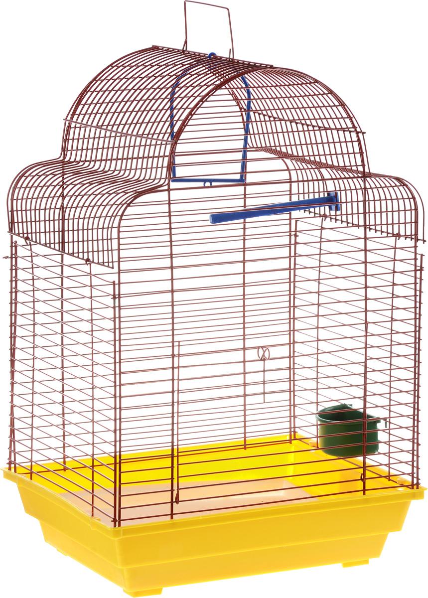 Клетка для птиц ЗооМарк Купола, цвет: желтый поддон, красная решетка, 35 х 29 х 51 см460_желтый, красныйКлетка ЗооМарк Купола, выполненная из полипропилена и металла, предназначена для мелких птиц. Изделие состоит из большого поддона и решетки. Клетка снабжена металлической дверцей. В основании клетки находится малый поддон. Клетка удобна в использовании и легко чистится. Она оснащена жердочкой, кольцом для птицы, кормушкой и подвижной ручкой для удобной переноски. Комплектация: - клетка с поддоном, - малый поддон, - кормушка, - кольцо, - жердочка.