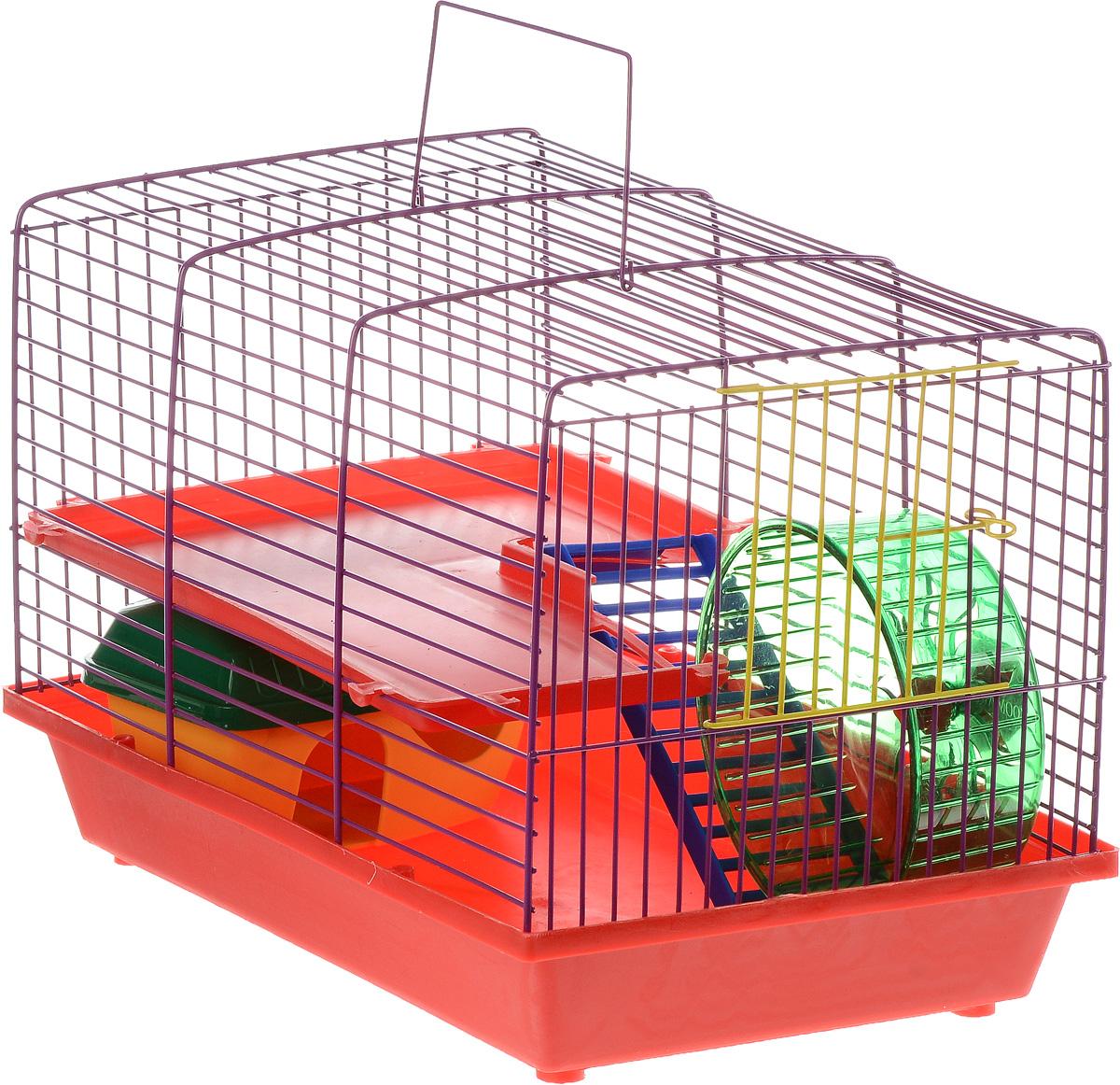 Клетка для грызунов ЗооМарк, 2-этажная, цвет: красный поддон, фиолетовая решетка, красные этаж, 36 х 23 х 24 см125_красный, фиолетовыйКлетка ЗооМарк, выполненная из полипропилена и металла, подходит для мелких грызунов. Изделие двухэтажное, оборудовано лестницей, колесом для подвижных игр и пластиковым домиком. Клетка имеет яркий поддон, удобна в использовании и легко чистится. Сверху имеется ручка для переноски. Такая клетка станет уединенным личным пространством и уютным домиком для маленького грызуна.