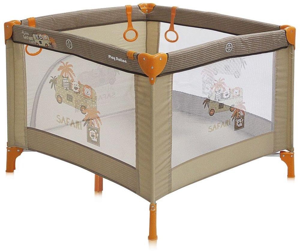 Lorelli Манеж Play Station цвет бежевый3800151904625Детский манеж Bertoni Play Station выполнен в современном стиле, компактен в сложенном виде. Отсутствуют острые углы, ткань приятная на ощупь. Особенности: Квадратный просторный манеж Травмобезопасная конструкция Центральная ножка для обеспечения безопасности Легко складывается в компактную, удобную для переноски сумку Яркие, прочные, легкомоющиеся тканевые части Специальные кольца на боковинках для помощи малышу научиться вставать Сетчатые вставки в боковинах для лучшей вентиляции и обзора Отстегивающийся боковой лаз, чтобы малыш мог сам забираться в манеж и выбираться из него Размеры: 90х100x75 см. Характеристики