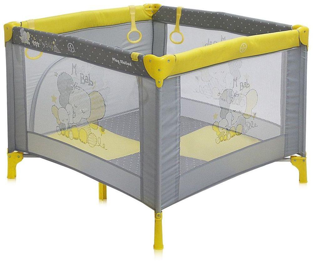 Lorelli Манеж Play Station цвет желтый3800151904649Детский манеж Bertoni Play Station выполнен в современном стиле, компактен в сложенном виде. Отсутствуют острые углы, ткань приятная на ощупь. Особенности: Квадратный просторный манеж Травмобезопасная конструкция Центральная ножка для обеспечения безопасности Легко складывается в компактную, удобную для переноски сумку Яркие, прочные, легкомоющиеся тканевые части Специальные кольца на боковинках для помощи малышу научиться вставать Сетчатые вставки в боковинах для лучшей вентиляции и обзора Отстегивающийся боковой лаз, чтобы малыш мог сам забираться в манеж и выбираться из него Размеры: 90х100x75 см. Характеристики