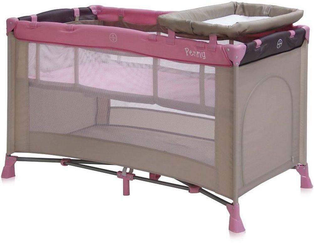 Lorelli Манеж-кроватка Penny 2 цвет бежевый, розовый3800151913399Детский манеж-кроватка от болгарского бренда Bertoni Penny 2 – это гарантированный комфорт вашего малыша! Продукция компании сертифицирована и отвечает самым высоким стандартам качества и безопасности эксплуатации, одобрена нормами ЕС. Манеж-кроватка уместен не только в доме, но и на улице. Достоинства детской кроватки-манежа Bertoni Penny 2: Продукция изготовлена из высококачественных, экологичных материалов с антибактериальным покрытием Дно в Bertoni Penny 2 имеет 2 уровня: одно для игр, второе для сна Дно жесткое, что гарантирует правильную поддержку спинки ребенка во время сна Bertoni Penny 2 имеет центральную ножку, которая гарантирует не только дополнительную устойчивость, но и не дает прогибаться дну В сложенном виде конструкция занимает мало места, легко переносится в сумки, которая идет в комплекте. Процесс складывания предельно прост Bertoni Penny 2 снабжена пеленатором, который устанавливается на борта манежа и еще есть защитный капюшон с дугой и игрушками Боковины...