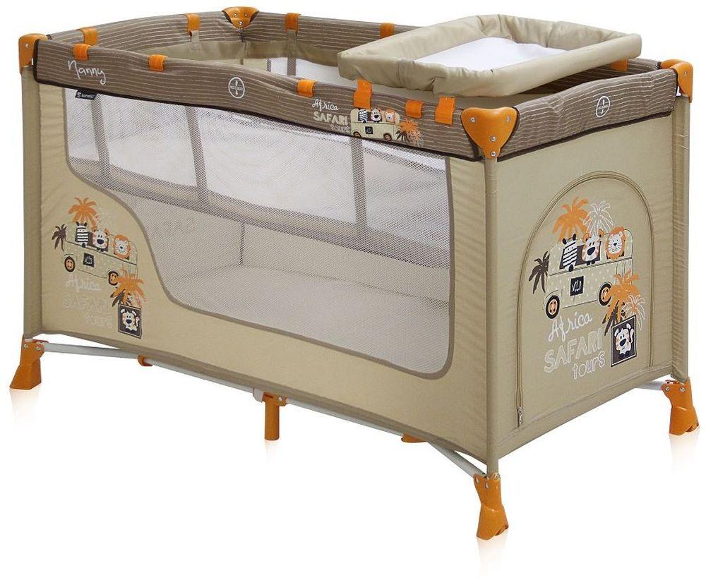 Lorelli Манеж-кроватка Nanny 2 цвет бежевый3800151928614Детский манеж-кроватка от болгарского бренда Bertoni Nanny 2 – это гарантированный комфорт вашего малыша! Продукция компании сертифицирована и отвечает самым высоким стандартам качества и безопасности эксплуатации, одобрена нормами ЕС. Манеж-кроватка уместен не только в доме, но и на улице. Достоинства детской кроватки-манежа Bertoni Nanny 2: Продукция изготовлена из высококачественных, экологичных материалов с антибактериальным покрытием Дно в Bertoni Nanny 2 имеет 2 уровня: одно для игр, второе для сна Дно жесткое, что гарантирует правильную поддержку спинки ребенка во время сна Bertoni Nanny 2 имеет центральную ножку, которая гарантирует не только дополнительную устойчивость, но и не дает прогибаться дну В сложенном виде конструкция занимает мало места, легко переносится в сумки, которая идет в комплекте. Процесс складывания предельно прост Bertoni Nanny 2 снабжена пеленатором, который устанавливается на борта манежа и еще есть защитный капюшон с дугой и игрушками Боковины...