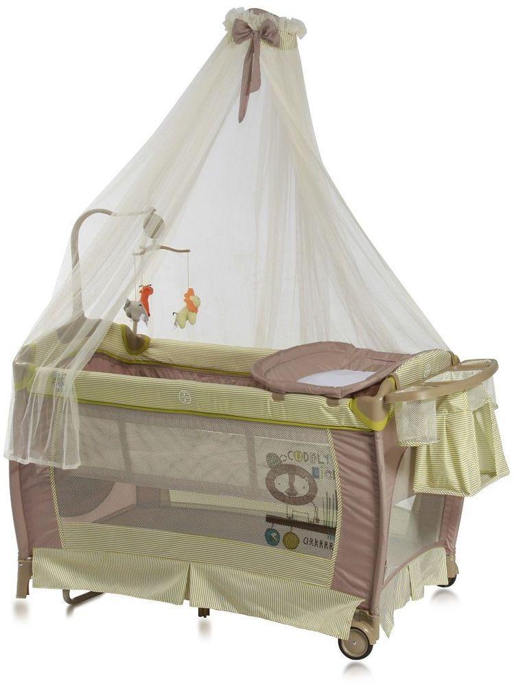 Lorelli Манеж-кроватка SleepNDream Rocker цвет зеленый3800151955672Универсальный дизайн и спокойная цветовая гамма позволит без труда вписать его в интерьер любой детской комнаты. Особенности: Два уровня высоты ложа – верхний для младенцев, нижний от 6 месяцев; Балдахин; Пеленатор; Функция качания; Боковой лаз, который застегивается на молнию; Небольшие колесики для перемещения по полу; Компактные размеры при складывании; Музыкальная карусель с игрушками; Подставка для аксессуаров и мелочей.