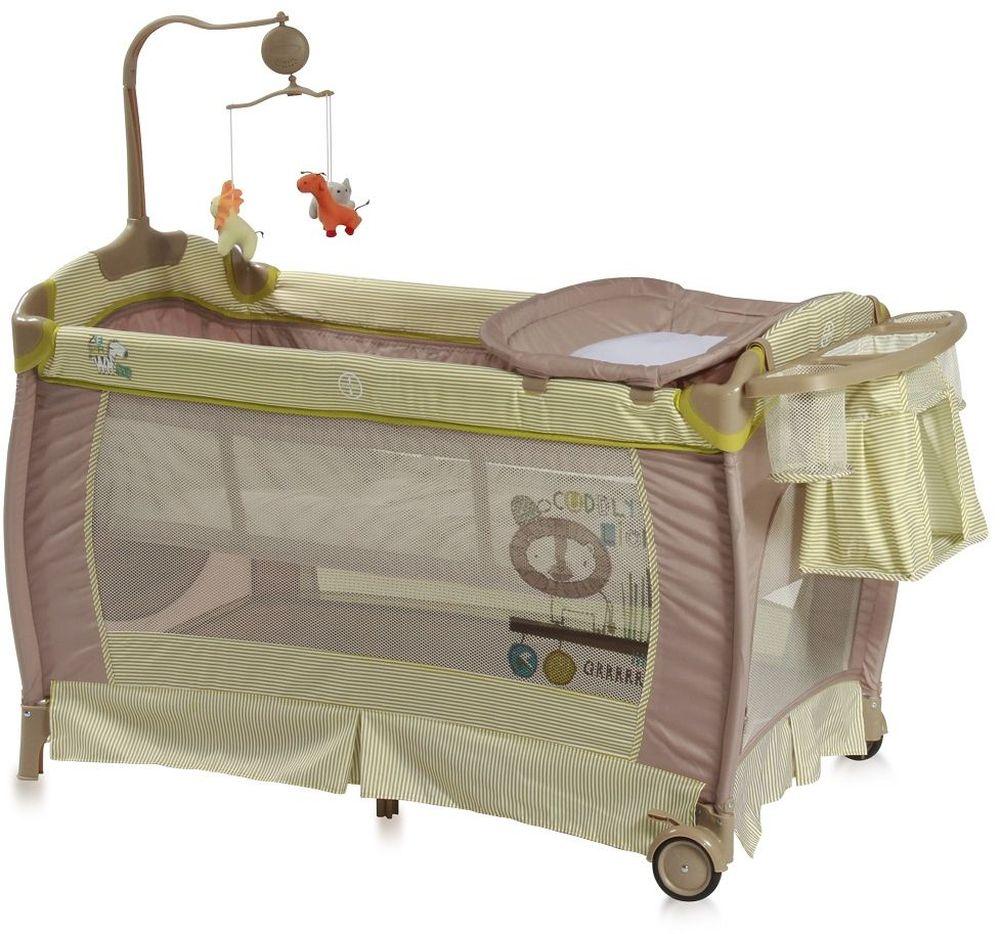 Lorelli Манеж-кроватка SleepNDream цвет зеленый3800151955825Практичная и компактная модель, которая поможет родителям на время ограничить перемещение малыша по дому и сделает его пребывание абсолютно безопасным. Плюсом модели является два уровня высоты ложа. Первый уровень используется для новорожденных. Когда ребенок подрастет, дно можно опустить на второй уровень и использовать манеж не опасаясь, что ребенок вывалится из него. Особенности: Удобный пеленальный столик Сбоку отверстие на молнии Колесики для перемещения по полу Компактное складывание Музыкальная карусель с подвесными игрушками Подставка для аксессуаров и мелочей Размер 120 ? 60 ? 78 см Вес 12 кг