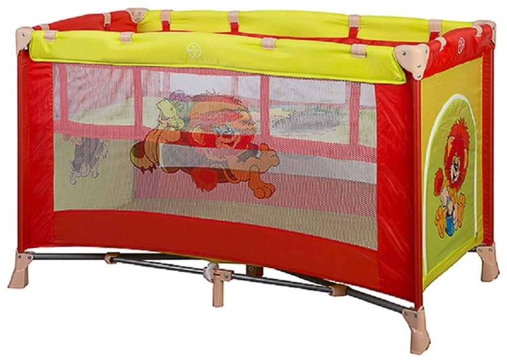 Bambini Манеж-кроватка Союзмультфильм Carambol Львенок и Черепаха цвет желтый, красный4615258692516Манеж Bambini Carambol компактный и очень удобный, он ограничит пространство Вашего малыша в целях его безопасности. Незаменим в поездках и на даче, легко складывается в компактную сумочку, которая идет в комплекте. Не займет много места в машине. Сделан из легко моющегося материала Основные характеристики: быстрый и безопасный механизм складывания-раскладывания манежа боковой лаз для ребенка центральная ножка жесткое дно сумка для переноски замок-фиксатор на дне яркая расцветка изготовлен из прочных антибактериальных тканей для детей до 3 лет Размер спального места 120х60 см