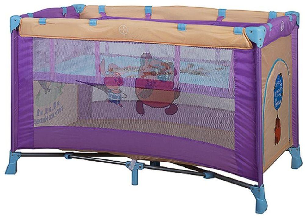 Bambini Манеж-кроватка Союзмультфильм Carambol Винни Пух цвет синий, фиолетовый4615258692523Манеж Bambini Carambol компактный и очень удобный, он ограничит пространство Вашего малыша в целях его безопасности. Незаменим в поездках и на даче, легко складывается в компактную сумочку, которая идет в комплекте. Не займет много места в машине. Сделан из легко моющегося материала Основные характеристики: быстрый и безопасный механизм складывания-раскладывания манежа боковой лаз для ребенка центральная ножка жесткое дно сумка для переноски замок-фиксатор на дне яркая расцветка изготовлен из прочных антибактериальных тканей для детей до 3 лет Размер спального места 120х60 см