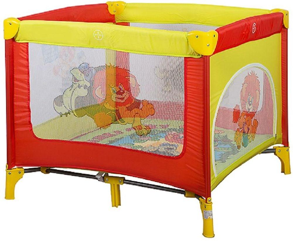 Bambini Манеж Союзмультфильм Caribu Львенок и Черепаха цвет желтый, красный4615258692561Манеж Bambini Caribu компактный и очень удобный, он ограничит пространство Вашего малыша в целях его безопасности. Незаменим в поездках и на даче, легко складывается в компактную сумочку, которая идет в комплекте. Не займет много места в машине. Сделан из легко моющегося материала Основные характеристики: быстрый и безопасный механизм складывания-раскладывания манежа боковой лаз для ребенка центральная ножка жесткое дно сумка для переноски замок-фиксатор на дне яркая расцветка изготовлен из прочных антибактериальных тканей для детей до 3 лет размеры: 93x93х76