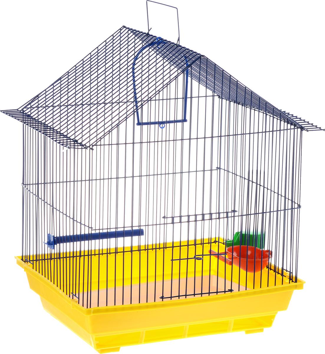 Клетка для птиц ЗооМарк, цвет: желтый поддон, синяя решетка, 39 х 28 х 42 см410_желтый, синийКлетка ЗооМарк, выполненная из полипропилена и металла с эмалированным покрытием, предназначена для мелких птиц. Изделие состоит из большого поддона и решетки. Клетка снабжена металлической дверцей. В основании клетки находится малый поддон. Клетка удобна в использовании и легко чистится. Она оснащена кольцом для птицы, поилкой, кормушкой и подвижной ручкой для удобной переноски. Комплектация: - клетка с поддоном; - малый поддон; - поилка; - кормушка; - кольцо.