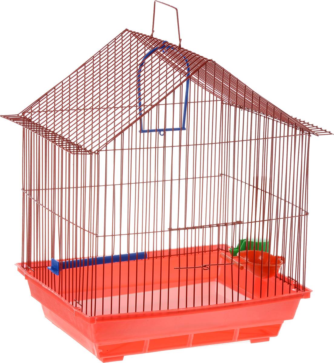 Клетка для птиц ЗооМарк, цвет: красный поддон, красная решетка, 39 х 28 х 42 см410_красныйКлетка ЗооМарк, выполненная из полипропилена и металла с эмалированным покрытием, предназначена для мелких птиц. Изделие состоит из большого поддона и решетки. Клетка снабжена металлической дверцей. В основании клетки находится малый поддон. Клетка удобна в использовании и легко чистится. Она оснащена кольцом для птицы, поилкой, кормушкой и подвижной ручкой для удобной переноски. Комплектация: - клетка с поддоном; - малый поддон; - поилка; - кормушка; - кольцо.