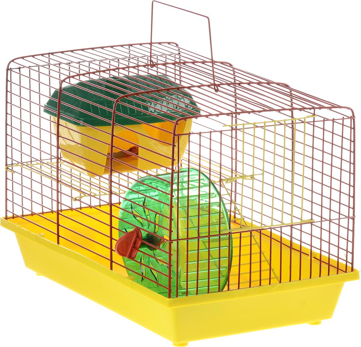 Клетка для грызунов ЗооМарк, 2-этажная, цвет: желтый поддон, красная решетка, желтый этаж, 36 х 22 х 24 см125жЖККлетка ЗооМарк, выполненная из полипропилена и металла, подходит для мелких грызунов. Изделие двухэтажное, оборудовано колесом для подвижных игр и пластиковым домиком. Клетка имеет яркий поддон, удобна в использовании и легко чистится. Сверху имеется ручка для переноски. Такая клетка станет уединенным личным пространством и уютным домиком для маленького грызуна.