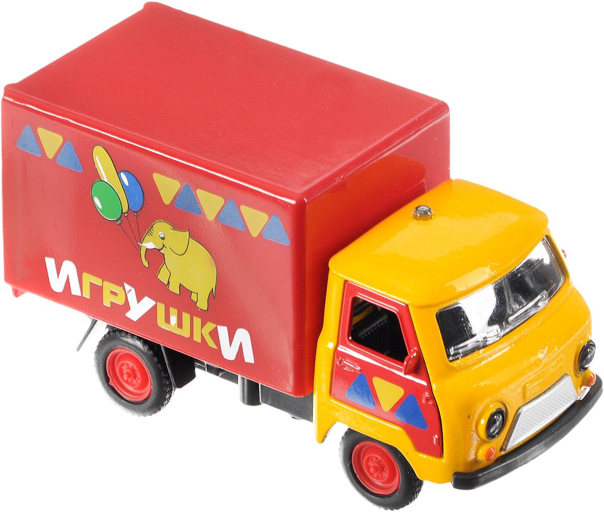 ТехноПарк Грузовик УАЗ-3303 ИгрушкиCT10-107-3Инерционная машина ТехноПарк УАЗ-3303 Игрушки, выполненная из безопасного металла и пластика, станет любимой игрушкой вашего малыша. У неё открываются двери водительской кабины и двери фургона, светятся фары и производится реалистичный звук работающего двигателя. Фургон украшен красочной картинкой. Машина оснащена инерционным ходом. Машинку необходимо немного подтолкнуть вперед или назад, а затем отпустить - и она быстро поедет в том же направлении. Прорезиненные колеса обеспечивают надежное сцепление с любой поверхностью пола. Ваш ребенок будет часами играть с этой машинкой, придумывая различные истории. Порадуйте его таким замечательным подарком! Для работы игрушки необходимо докупить 3 батарейки напряжением 1,5V типа LR41 (товар комплектуется демонстрационными).
