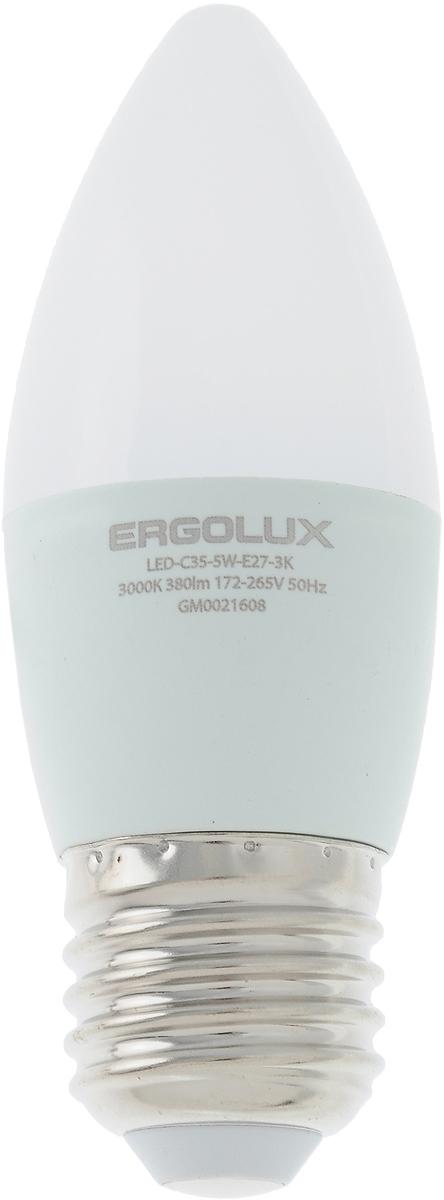 Лампа светодиодная Ergolux LED-C35-5W-E27-3K, теплый свет, цоколь Е27, 5 Вт12413Лампа светодиодная Ergolux - новое решение в светотехнике. Светодиодная лампа экономит до 90% электроэнергии благодаря низкой потребляемой мощности. Лампа не содержит ртути и других вредных веществ, экологически безопасна и не требует утилизации. Срок службы в 2,5-3 раза дольше энергосберегающей лампы и в 30 раз дольше лампы накаливания. Обладает высокой ударопрочностью благодаря корпусу из пластика и металла. Мгновенно включается, не мерцает во время работы. Светодиодные лампы идеально подходят для основного и акцентного освещения интерьеров, витрин, декоративной подсветки. Кроме того, они создают уютную атмосферу и позволяют экономить электроэнергию уже с первого дня использования. Тип: Candle C35. Эффективность: 76 лм/Вт. Напряжение: 172-265 В. Индекс цветопередачи (Ra): 77+. Угол светового пучка: 220°. Использовать при температуре: от -30° до +40°. Коэффициент пульсации: <5%.