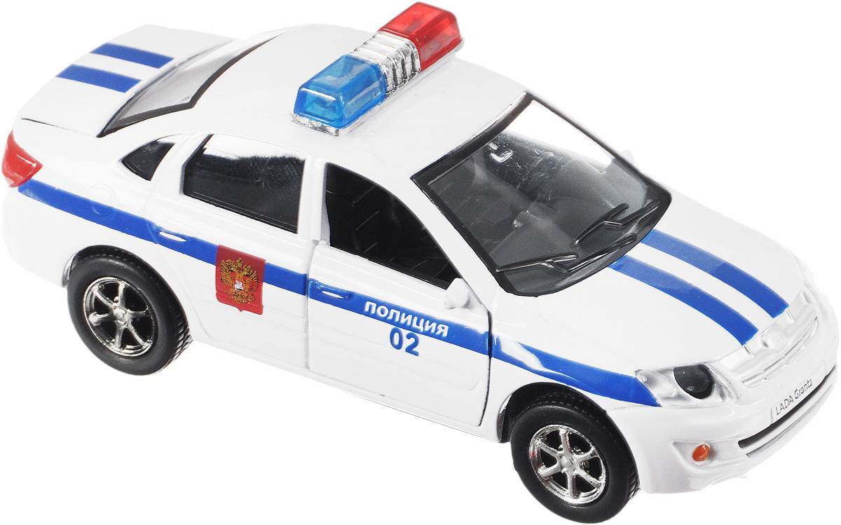 ТехноПарк Машинка инерционная LADA Granta ПолицияSB-13-15-2Машинка инерционная ТехноПарк LADA Granta. Полиция позволит ребенку ощутить себя настоящим слугой закона. У машины открываются двери и багажник. Полицейский автомобиль оснащен световыми и звуковыми сигналами. Авто имеет инерционный механизм. Машинку необходимо отвести назад, затем отпустить - и она самостоятельно поедет вперед. Прорезиненные колеса обеспечивают надежное сцепление с любой поверхностью пола. Игрушка выполнена из высококачественного металла с пластиковыми элементами, поэтому она очень прочная. Игра с машинкой способствует развитию воображения и моторики рук. Рекомендуется докупить 3 батарейки напряжением 1,5V типа LR41 (товар комплектуется демонстрационными).