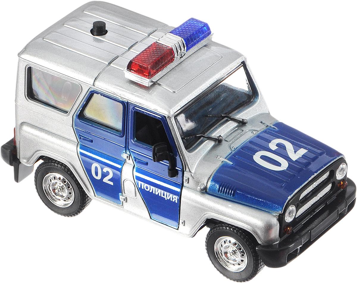 ТехноПарк Машинка инерционная УАЗ Hunter Полиция 31514-12 (96)31514-12 (96)Инерционная машинка ТехноПарк  УАЗ Hunter. Полиция, выполненная из пластика и металла, станет любимой игрушкой вашего малыша. Игрушка представляет собой полицейский автомобиль марки УАЗ. Передние и задние двери машинки открываются. При нажатии на кнопку, расположенную на крыше модели, замигают проблесковые маячки и прозвучат звуки сирены. Игрушка оснащена инерционным ходом. Машинку необходимо отвести назад, затем отпустить - и она самостоятельно поедет вперед. Прорезиненные колеса обеспечивают надежное сцепление с любой гладкой поверхностью. Ваш ребенок будет увлеченно играть с этой машинкой, придумывая различные истории. Порадуйте его таким замечательным подарком! Машинка работает от незаменяемых батареек.