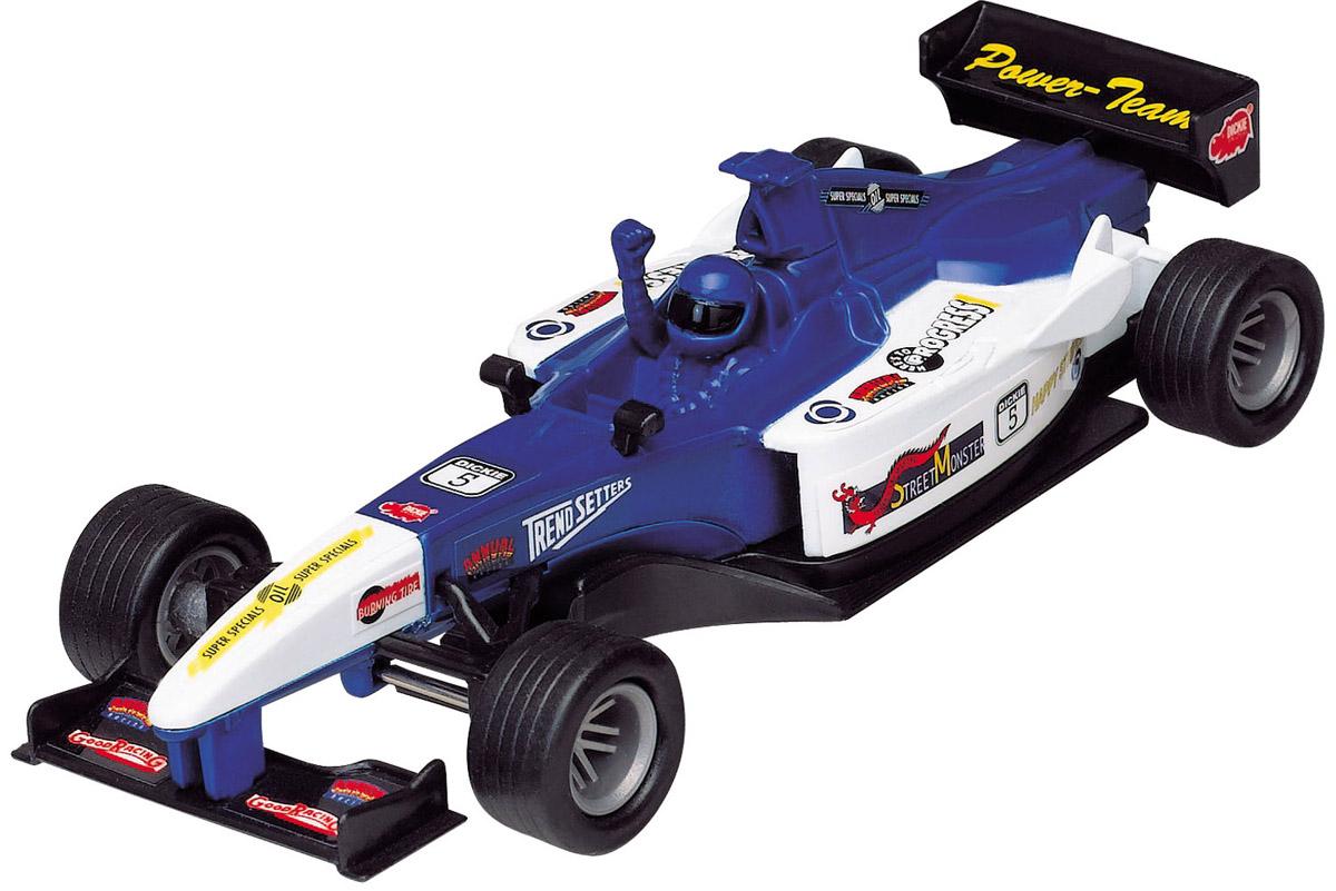 Dickie Toys Машинка Формула-1 цвет белый синий3341001_белый, синийМашинка Dickie Toys Формула 1 представляет собой реалистичную копию настоящего гоночного автомобиля. Машинка изготовлена из высококачественного пластика. Для запуска машинки достаточно потянуть за кольцо, расположенное на ее задней части. Машинка Dickie Toys Формула 1 разнообразит игровые ситуации, откроет новые сюжеты для маленького автолюбителя и поможет развить мелкую моторику рук, внимание и координацию движений. Не упустите шанс порадовать своего малыша замечательным подарком!