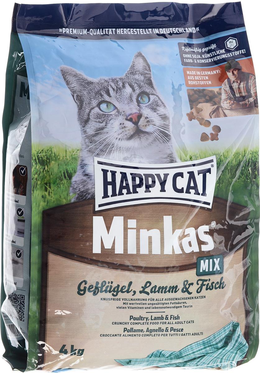 Корм сухой Happy Cat Minkas Mix для взрослых кошек, с птицей, ягненком и рыбой, 4 кг70048Happy Cat Minkas Mix – это полноценный базовый корм для взрослых кошек. Благодаря ценным белкам из мяса птицы, ягненка и рыбы, отсутствию сои и высококачественным хрустящим злаковым составляющим этот продукт нравится кошкам и легко усваивается. Состав: птица (24,5%), пшеничная мука, пшеница, кукуруза, птичий жир (5%), рыба (2,5%), ягненок (2,5%), картофельный белок, свекловичный жом (без сахара), гемоглобин, масло из семян подсолнечника, яблочная пульпа. Аналитические составляющие: протеин - 30%, жир - 12%, клетчатка - 2,5%, зола - 6,5%. Добавки: витамин А - 15000 МЕ, Витамин D3 - 1250 МЕ, таурин - 1000 МЕ. Товар сертифицирован.