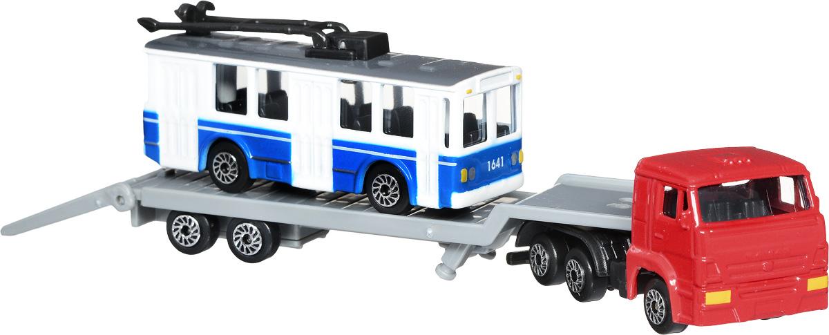 ТехноПарк Набор машинок КамАЗ Транспортер с троллейбусом 2 штSB-16-31_с троллейбусомНабор машинок ТехноПарк КамАЗ Транспортер с троллейбусом включает в себя машину-автотранспортер и модель троллейбуса. У транспортера отсоединяется прицеп и откидывается трап. Выполненные из высококачественных материалов, машинки обязательно понравится не только ребенку, но и взрослому. Игрушечные модели с высокой детализацией оснащены металлическими корпусами и подвижными колесами. Машинки являются отличным подарком для юного гонщика или взрослого коллекционера техники. Ваш ребенок будет часами играть с этим набором, придумывая различные истории. Настоящая радость для ребенка, особенно если он неравнодушен к технике!