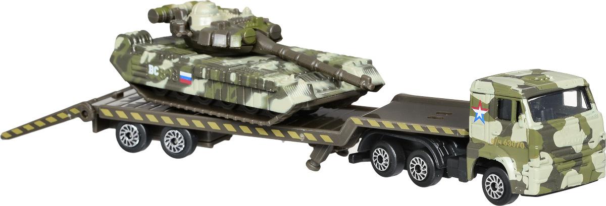 ТехноПарк Набор машинок Транспортер КамАЗ с танком 2 штSB-16-31_с танкомАвтотранспортер КамАЗ с танком ТехноПарк станет отличным подарком для мальчика. Кабина грузовика и корпус танка выполнены из металла, прицеп - из пластика. Прицеп отсоединяется, пандус опускается. Башня танка вращается, ствол поднимается. Колеса машинок свободно вращаются. Сделайте вашему ребенку такой великолепный подарок!