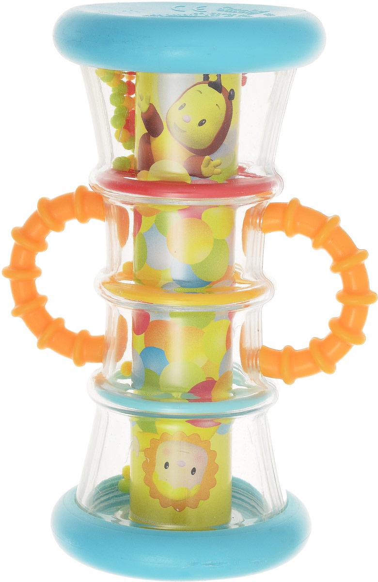 Smoby Погремушка-калейдоскоп цвет оранжевый211315Погремушка-калейдоскоп от компании Smoby - настолько оригинальная игрушка, что даже родители захотят с нею поиграть! Ведь это не только погремушка, но и песочные часики, а позабавиться чудесами калейдоскопа - это просто огромное удовольствие. Попробуйте перевернуть игрушку в одну сторону, и малыш увидит, что маленькие яркие шарики пересыпаются в другую сторону прозрачной колбы. Погремушка дополнена двумя рельефными ручками. Удобная форма игрушки позволит малышу с легкостью взять и держать ее, а приятный звук погремушки порадует и заинтересует его. Игрушка поможет развить цветовое восприятие, тактильные ощущения и мелкую моторику рук ребенка, а элемент погремушки поспособствует развитию слуха.