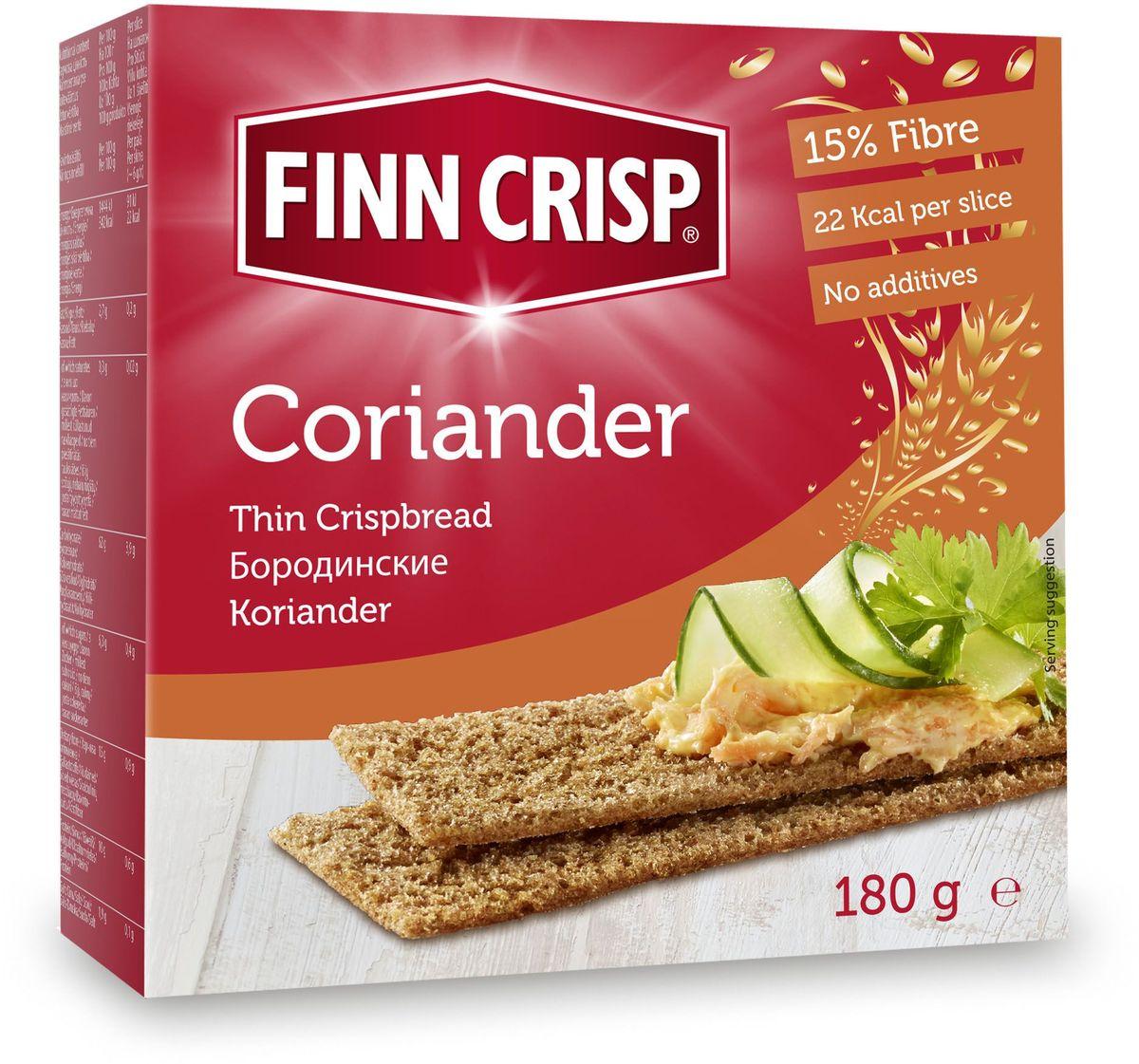 Finn Crisp Coriander хлебцы бородинские с кориандром, 180 г20129В 1952 году началось производство сухариков FINN CRISP (ФИНН КРИСП), когда стартовали Олимпийские Игры в Хельсинки (Финляндия). Многие годы натуральные ржаные сухарики FINN CRISP отражают дух Финляндии для миллионов покупателей по всему миру, заботящихся о здоровом питании. Высушивать хлеб - давняя финская традиция и FINN CRISP до сих пор придерживаются этой традиции создавая хлебцы по старому классическому финскому рецепту. Бренд FINN CRISP принадлежит компании VAASAN Group's. VAASAN - это крупнейшая хлебопекарная компания в Балтийском регионе со столетней историей, занимающаяся производством продукции для правильного и здорового питания. Занимающая второе место по производству сухариков и хлебцев, а её продукция экспортируются в более чем 50 государств!
