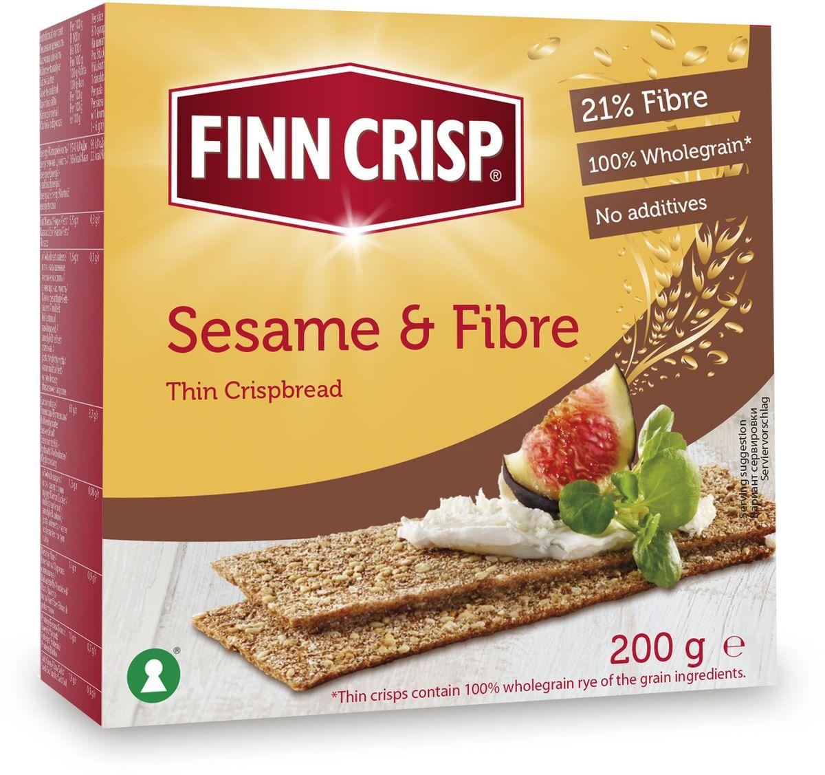 Finn Crisp Sesame&Fibre хлебцы кунжут и отруби, 200 г20246