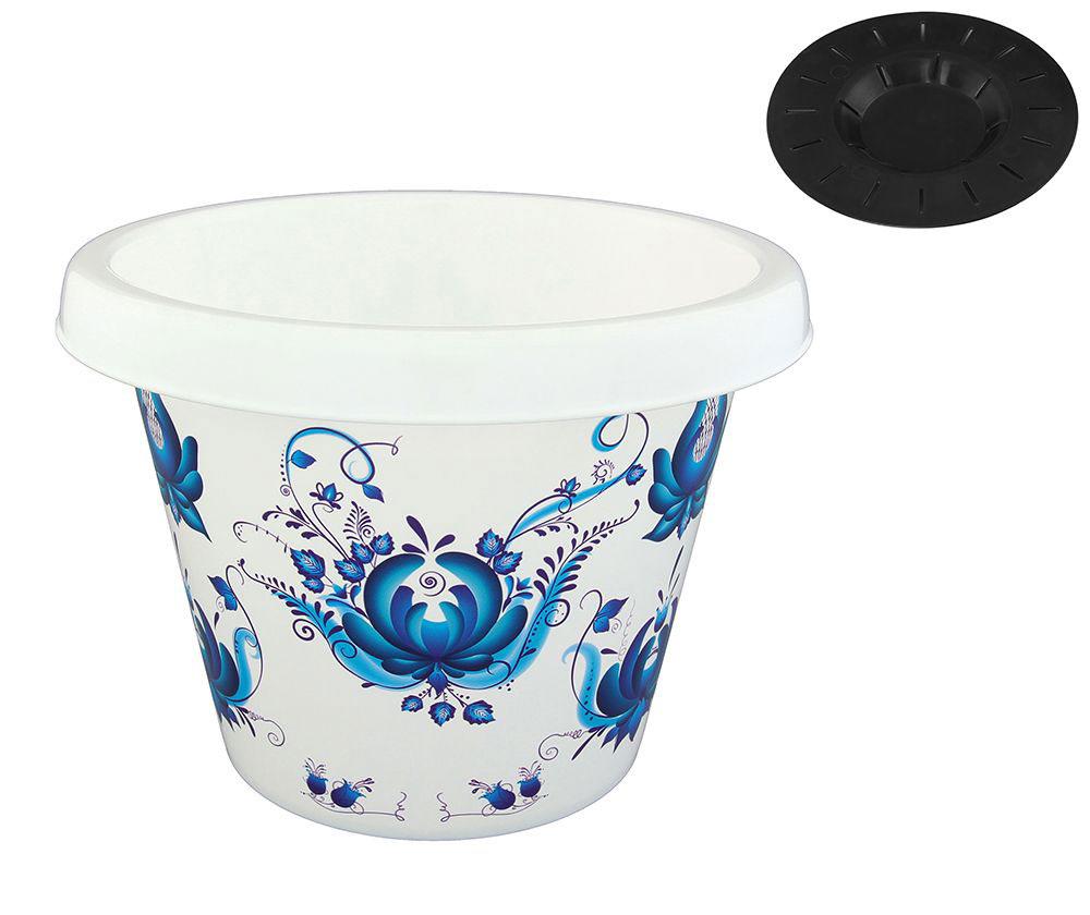 Кашпо Violet Гжель, с дренажной системой, 8 л30800/78Классическое кашпо Violet Гжель изготовлено из высококачественного пластика и оснащено дренажной системой для быстрого отведения избытка воды при поливе. Изделие прекрасно подходит для выращивания растений и цветов в домашних условиях. Объем: 8 л.