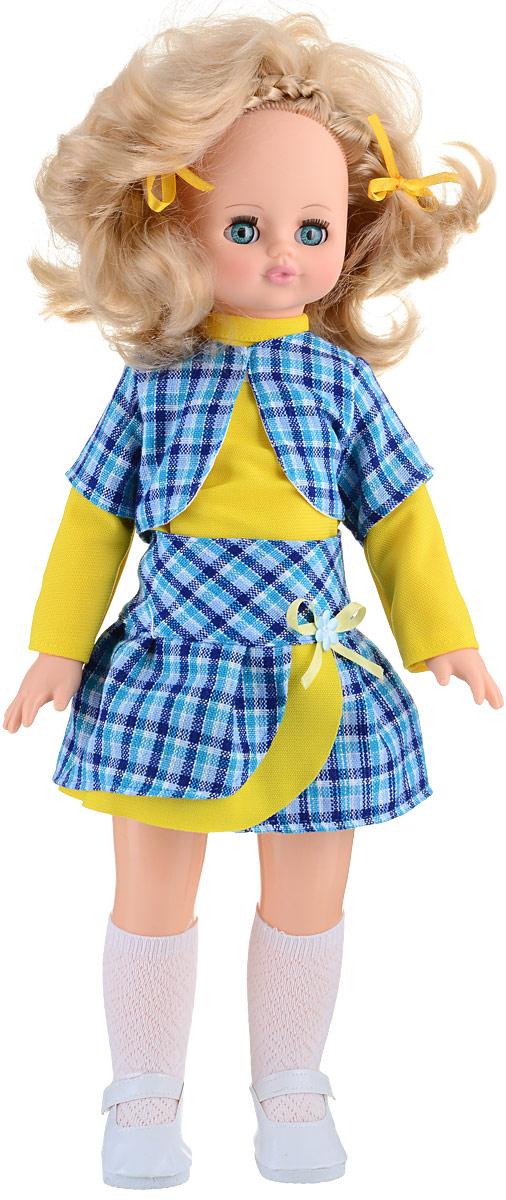 Весна Кукла озвученная Эльвира цвет одежды синий желтыйВ569/о_синий, желтыйУ обворожительной куклы Весна Эльвиры волшебные голубые глаза и блестящие светло-русые волосы. На кукле надет модный костюмчик из желтой кофточки, клетчатой юбочки и жилетки. Комплект дополняют белоснежные ажурные гольфы и туфельки. У Эльвиры закрываются глазки, она умеет разговаривать. При нажатии на звуковое устройство, вставленное в спинку, кукла произносит следующие фразы: Здравствуй!, Я твоя подружка!, Давай дружить!. Кукла умеет шагать. Милая игрушка станет лучшей подружкой для девочки и научит ребенка доброте и заботе о других. Для работы игрушки рекомендуется докупить 3 батарейки LR44/AG13/СЦ357 (товар комплектуется демонстрационными).