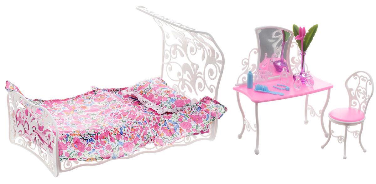 1TOY Набор мебели для куклы Спальня КрасоткаТ52118Спальня для кукол 1TOY Красотка создана, чтобы любимые игрушки вашей малышки сладко спали и видели сказочные сны. Набор состоит из кроватки, туалетного столика с безопасным зеркалом, стульчика и аксессуаров. В комплект с кроваткой входят покрывало и мягкая подушечка. Вся мебель Красотка очень проста в сборке, сама девочка может собрать её, а если ребёнок ещё мал, то это легко осуществимо вместе с родителями. Изысканный комплект мебели для спальни с резной кроватью, набором постельного белья и туалетным столиком станет одним из любимых для вашей куколки. Такой набор подойдет куколкам высотой 29 см. Теперь ваша малышка сможет убаюкивать своих кукол в удобной и красивой кроватке. Порадуйте ее таким замечательным подарком!