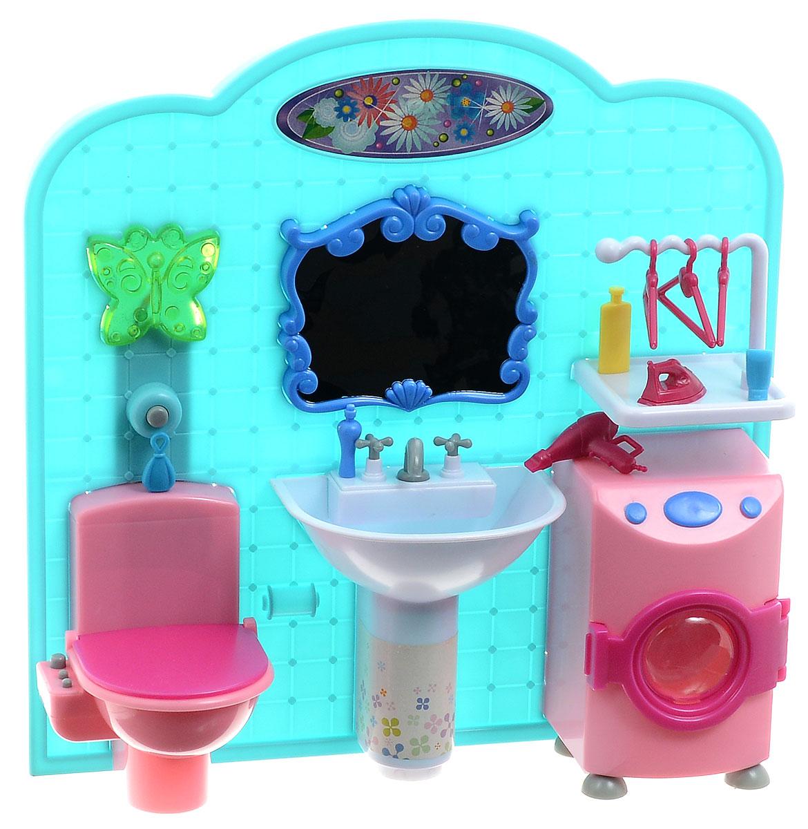 1TOY Набор мебели для кукол Ванная комната КрасоткаТ54513Ванная комната для кукол 1TOY Красотка будет замечательно смотреться в любом кукольном домике. Набор состоит из игрушечного унитаза, раковины, безопасного зеркала, стиральной машины, полочки и аксессуаров. В стене ванной имеется декоративный светильник в виде зеленой бабочки. Крышка унитаза и дверца машинки открываются. Такой набор подойдет куколкам высотой до 29 см. Теперь ваша малышка сможет разнообразить свою игру с любимыми куклами. Порадуйте ее таким замечательным подарком! Для работы требуются 2 батарейки типа АА (не входят в комплект).