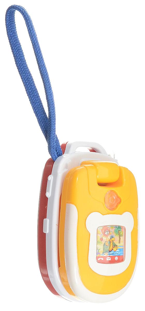 Умка Развивающая игрушка Обучающий телефон838-3Обучающий телефон сделан специально для малышей. 3 песни из мультфильмов помогут развить музыкальный слух и не дадут скучать. Светящиеся элементы и переливающаяся картинка привелкут внимание. Ребенок познакомиться со звуками телефона и фотоаппарата, а разнообразная форма кнопок и интересный дизайн помогут развить тактильное ощущения, мелкую моторику и хватальный рефлекс. Телефон имеет вращающуюся крышку на 3600 , мигающая антена. Сделан телефон из высококачественного, прочного пластика. Рекомендован детям от 3 месяцев. Работает от 3 литиевых батареек типа LR44 (входят в компленкт).