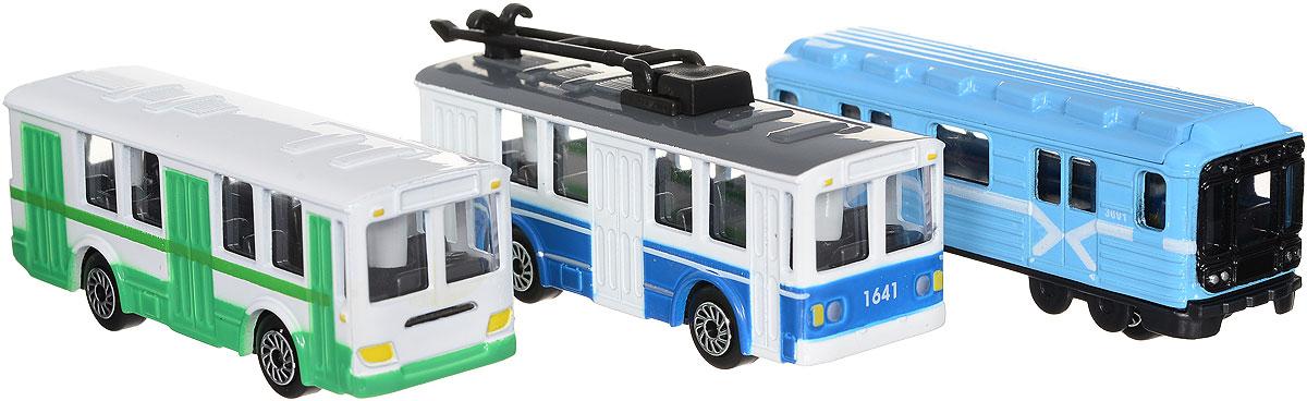 ТехноПарк Набор машинок Городской транспорт 3 штSB-14-10_метро, автобус, троллейбусНабор машинок ТехноПарк Городской транспорт включает в себя вагон метро, троллейбус и автобус в масштабе 1:72. Выполненные из высококачественных материалов, машинки обязательно понравится не только ребенку, но и взрослому. Игрушечные модели с высокой детализацией оснащены металлическими корпусами и подвижными колесами. Машинки являются отличным подарком для юного гонщика или взрослого коллекционера техники. Во время игры с машинками у ребенка развиваются мелкая моторика рук, фантазия и воображение. Ребенок сможет вообразить себя управляющим целой транспортной сети, запускающим и останавливающим общественное движение.