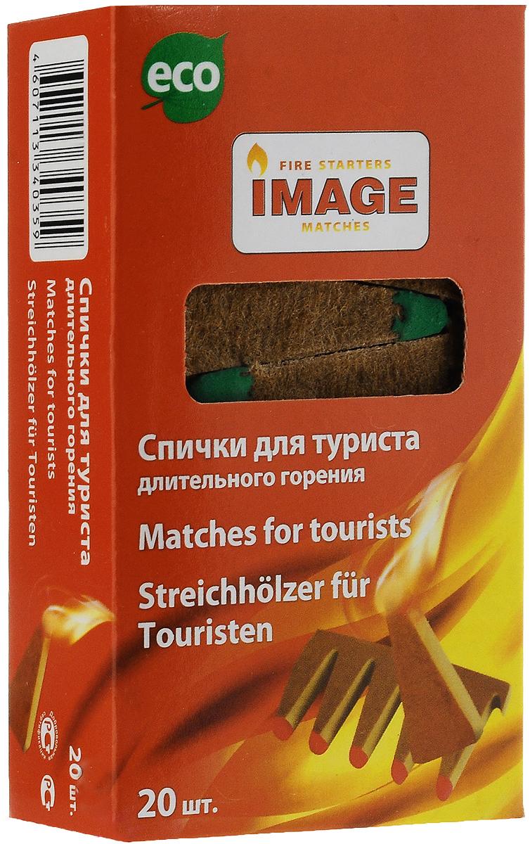 Спички длительного горения Image Турист, длина 5 см, 20 шт40359Спички Image Турист используются для разжигания угля, дров, камина, барбекю, костра при любых погодных условиях. Состав: картон, ДВП, парафин, чиркаш. Длина спичек: 5 см.