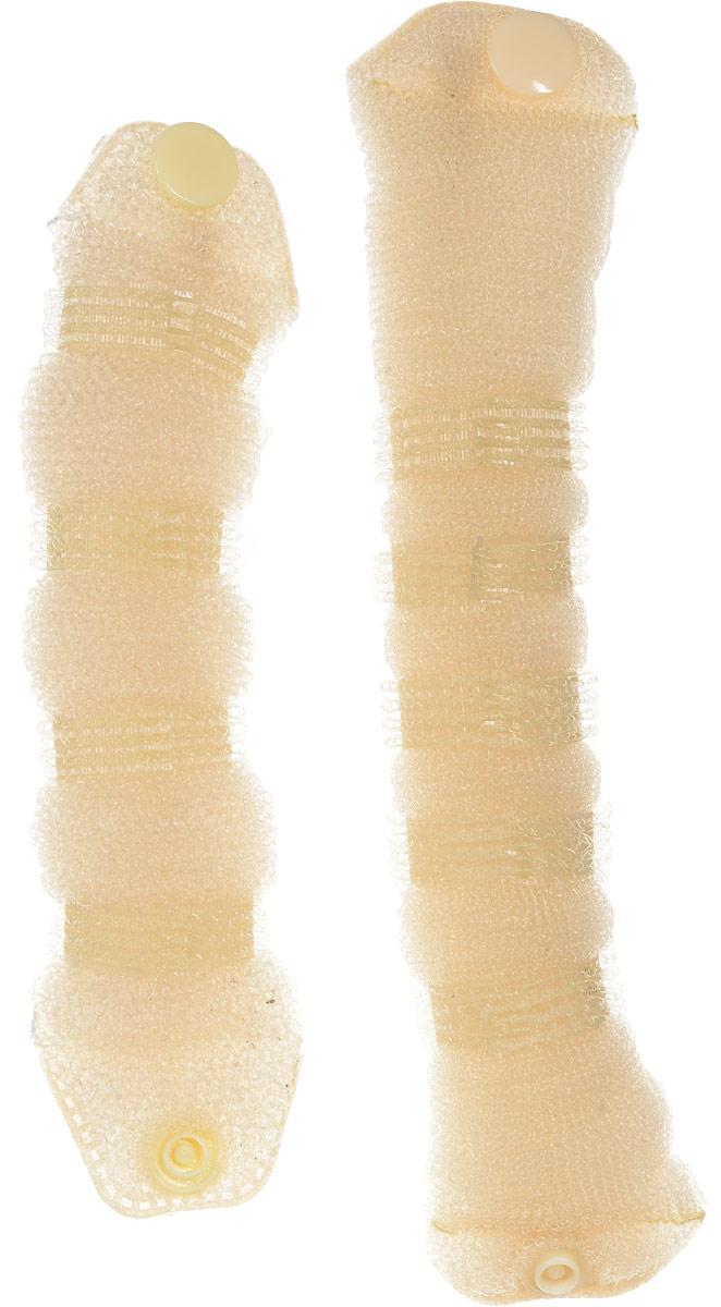 Magic Leverage Валик для волос Hot Buns плюс, цвет: белыйХБПбВалики предназначены для создания еще большего объема прически. Изготовлены из нейлоновой сетки - легкая и эластичная для удобного ношения, прекрасно фиксируется шпильками и заколками. Имеет удобную застежку. В комплекте 2 валика. Цвета: белый, черный. Диаметр: 7 и 9 см