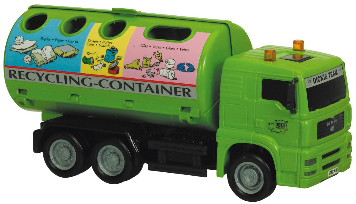Dickie Toys Мусоровоз MAN с круглым контейнером3744001_мусоровозМусоровоз Dickie Toys MAN привлечет внимание вашего ребенка и не позволит ему скучать. Игрушка выполнена из прочного пластика в виде хорошо детализированного мусоровоза. Кузов машины полностью открывается. Рельефные колеса обеспечивают надежное сцепление с полом. Машинка оснащена инерционным механизмом: достаточно немного подтолкнуть игрушку вперед или назад, а затем отпустить, и она сама поедет в этом же направлении. Ваш ребенок сможет часами играть с мусоровозом, придумывая разные истории. Порадуйте его таким замечательным подарком!